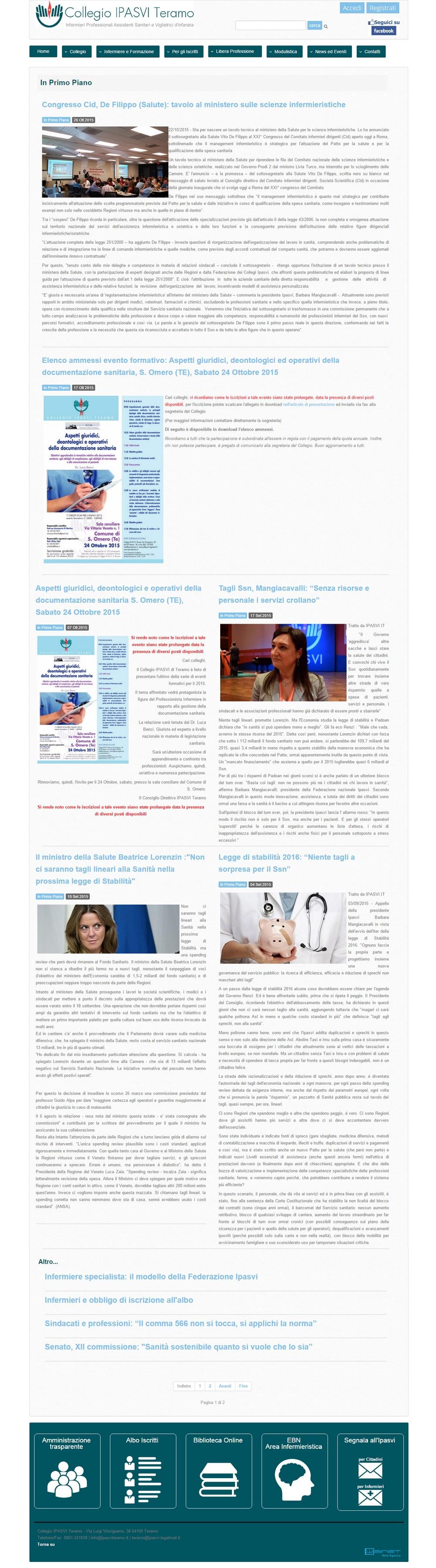 Collegio ipasvi di teramo for Sito web design piano piano